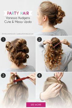 A loose updo is a playful way to wear your hair both for formal events and every day. All it takes is a little creative pinning, so get out your bobby pins, and get ready to curl and twirl your way to this Vanessa Hudgens updo look. Hair Tutorials For Medium Hair, Up Dos For Medium Hair, Medium Hair Styles, Long Hair Styles, Party Hairstyles, Formal Hairstyles, Cool Hairstyles, Hairstyle Ideas, Victorian Hairstyles
