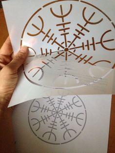 painting stencil Ægishjálmur Helm of Awe symbol by stencilfi Stencil Painting, Everyday Items, Celtic, Stencils, Symbols, Unique Jewelry, Handmade Gifts, Etsy, Vintage