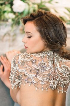 Ornate Handmade Crystals and Pearls Beaded bolero and Bridal Cover Ups for evening and wedding