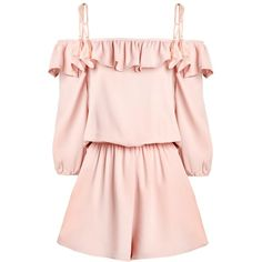 Ruffled Pink Romper ($48) ❤ liked on Polyvore featuring jumpsuits, rompers, dresses, playsuits, romper, jumpers, playsuit jumpsuit, pink jumpsuit, pink romper and pink rompers