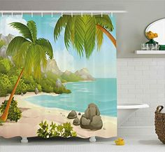 Ambesonne Tropical Shower Curtain, Exotic Beach with Coconut Palm Trees and Rocks Journey Oceanic Coastal Design, Cloth Fabric Bathroom Decor Set with Hooks, Long, Green Aqua Tropical Shower Curtains, Ocean Shower Curtain, Tree Shower Curtains, Shower Curtain Sizes, Striped Shower Curtains, Bathroom Decor Sets, Bathroom Red, Bathrooms, Tropical Colors