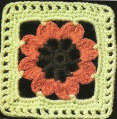 Crochet Square with Flower Inside