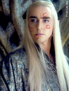 "I'm laughing so hard I'm crying. Thranduil's been attacked by the Kissing Bandit.  Okay, ladies, everyone pull you're lipstick out of you're purse - we're matching the color and getting to the bottom of this. (And every woman immediately stood up and said, ""I did it!"")"