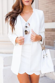 All white outfit, white blazer, scalloped skirt, chic details