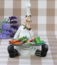 Creative Resin Chef Figurine Candy Plate Decorative Cook Statue Cake Tray Glass Tableware Ornament Gift and Craft Accessories _ {categoryName} - AliExpress Mobile Version - Bistro Kitchen Decor, Fat Chef Kitchen Decor, Apple Kitchen Decor, Kitchen Themes, Chef Pictures, Kitchen Pictures, Recycled Tin Cans, Cake Tray, Coffee Theme