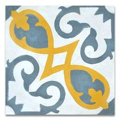 """Found it at AllModern - Agadir 8"""" x 8"""" Cement Tile in Gray and Yellow"""