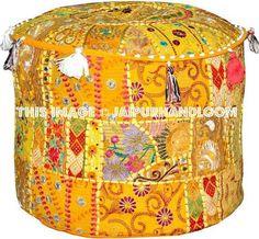 Ottoman pouf floor pillow - Joann Barile - Ottoman pouf floor pillow XL Ottoman Pouf Floor Pillow cushion in yellow playroom seating decor Round Ottoman Poufs Footstool Bohemian Stool floor cushion pillow - Ottoman Cover, Round Ottoman, Floor Pouf, Floor Cushions, Throw Cushions, Ikea Pouf, Stool Covers, Pillow Covers, Yellow Playroom