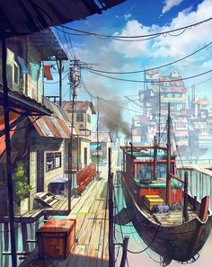 Illustrator Chong Fei Giap from Malaysia draws these great pictures. Fantasy Art Landscapes, Fantasy Landscape, Landscape Art, Bts Art, Wie Zeichnet Man Manga, Illustrator, Illustration Blume, Village Girl, Anime Scenery Wallpaper