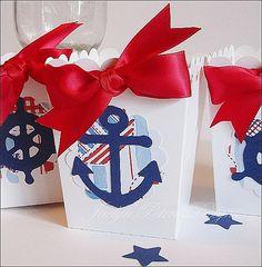 #Nautical Popcorn #FavorBox, #boysbirthday #babyshower by #JaclynPetersDesigns