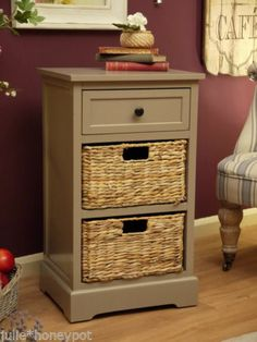 Shabby Chic Vintage Style Bedside Table Wicker Basket Furniture Drawers Storage | eBay