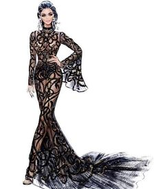 Fashion illustration at its best. From Haute Couture to the cat walk, from catalogue to off the shelf. Fashion Design Drawings, Fashion Sketches, Drawing Fashion, Moda Fashion, Fashion Art, Trendy Fashion, Nordstrom, Fashion Illustration Dresses, Fashion Illustrations