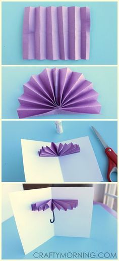 How to make a Umbrella card - Perfect for a Spring craft Kids Crafts, Diy And Crafts, Craft Projects, Arts And Crafts, Paper Crafts, Craft Kids, Card Crafts, Umbrella Cards, Origami