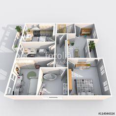 Kitchen Living, Living Room, Interior Rendering, Perspective, 3 D, Entrance, Windows, Doors, Bathroom
