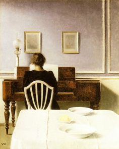 Interior with girl at the clavier, by Vilhelm Hammershøi