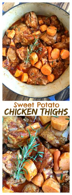Healthy, easy dinner: Paprika Sweet Potato Chicken Thighs (Paleo compliant if you use paleo flour or none at all) Dutch Oven Chicken Thighs, Crockpot Chicken Thighs, Chicken Thigh Recipes, Chicken Breasts, Crock Pot Sweet Potatoes, Sweet Potato Recipes, Easy Healthy Dinners, Quick Meals, Healthy Recipes