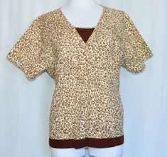 6e03043820a Baby Phat Brown Beige Leopard Print Scrub Top Size XL Extra Large #BabyPhat