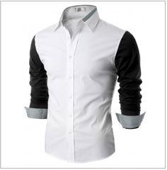 Men's Contrast Long Sleeve Button Down Shirt