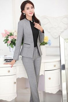 New Professional Business Work Suits Tops And Pants Ladies Office Trousers Sets 2015 Autumn And Winter Blazers Outfits Clothing Blazer Outfits, Blazer Fashion, Skirt Fashion, Fashion Outfits, Fashion Styles, Mens Fashion, Fashion Trends, Womens Dress Suits, Suits For Women
