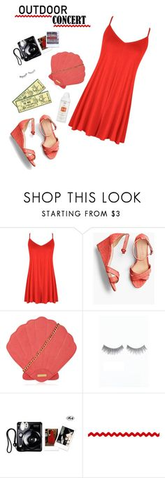 """""""Lady in Red"""" by icyhot ❤ liked on Polyvore featuring Boohoo, Talbots, Skinnydip, Polaroid, 60secondstyle and outdoorconcerts"""