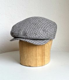 e384c4ca356 Men s Driving Cap in Vintage Gray Wool Gray Wool by HatsWithAPast Winter  Caps