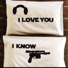 Star Wars I Love You I Know White Pillowcases  #Handmade