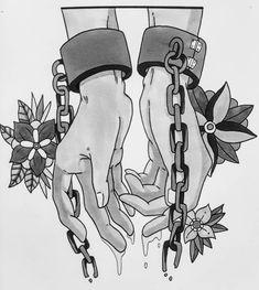 Handcuffs Drawing, Full Leg Tattoos, Dark Drawings, Jesus Art, Black Artwork, Foil Art, Black And White Drawing, Hand Art, Drawing People