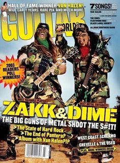 Zakk Wylde & Dimebag Darrell* March/2003 Guitar World magazine cover  __  https://www.pinterest.jp/tchovy/dimebag-darrell/