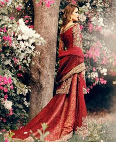 Indian bride in traditional red and gold Indian fashion