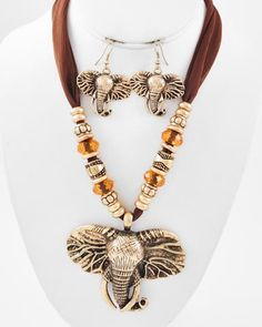 Burnished Gold Tone Metal / Brown Fabric & Acrylic / Lead Compliant / Animal / Elephant Pendant / Necklace & Earring Set