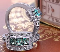 Classic natural alexandrite rings by David Wein. Pearl Jewelry, Jewelry Art, Jewelry Rings, Jewelery, Levian Chocolate Diamond Ring, Alexandrite Jewelry, Right Hand Rings, June Birth Stone, Crown Jewels