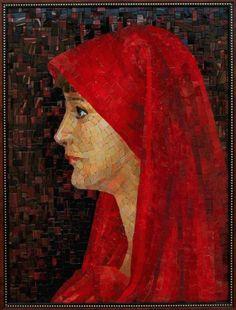 Мозаичная картина Девушка в красном