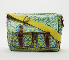 A Beautiful YELLOW Aztec Print Satchel Bag