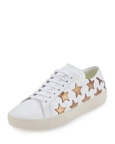 d7ebeb355f066c Stars aligned in Saint Laurent Star Sneakers. Paired with an off the  shoulder ruffle dress