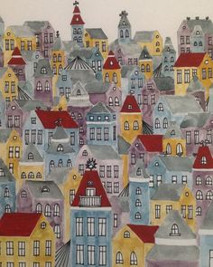 Village with Red, watercolor, gouache, ink, houses, buildings, whimsical village, rooftops, illustration, print of original painting