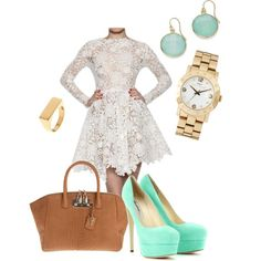 """""""Mint and Lace"""" by ale-gi-ezq on Polyvore outfit  So pretty I have the earrings"""