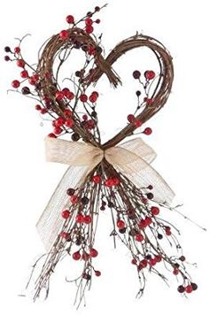 Rustic Wood Twig Sweet Love Heart with Hessian Ribbon Bow and red berries: .uk: Kitchen & Home Valentines Day Decor Rustic, Valentines Day Decorations, Vintage Valentines, Christmas Decorations, Twig Crafts, Nature Crafts, Diy And Crafts, Wood Crafts, Valentine Wreath