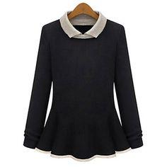 Mulheres Dica Primavera Collar Camisola longa da luva - BRL R$ 60,65
