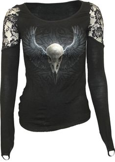 Raven Cage shoulder lace top by Spiral Direct http://www.the-black-angel.com/gothic-longsleeves-women/1316-raven-cage-shoulder-lace-top.html