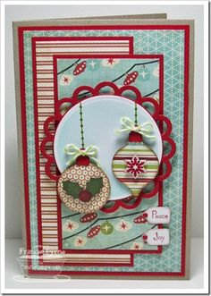 Christmas card - love the ornaments with twine and the little tags with sentiments
