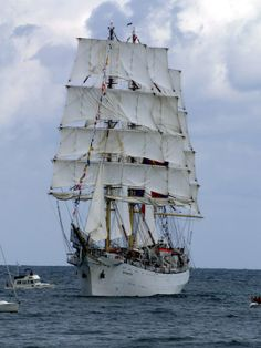 """I think most tall ship photos are shot durring """"parade of sail"""" events in coastal cities. In the confined waters these ships can not keep station with the other ships unless under engine power, but they set all their sail in order to look impressive, and I am glad they do. However this means the sails are not drawing wind and are usually """"Aback"""" which is the term for the wind pressing the sails back against the mast, as in this photo."""