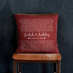 Great for wedding gifts, and anniversary's! Wedding Vows, Wedding Gifts, Buddy The Elf, Pillow Inserts, Valentine Day Gifts, Christmas Decorations, Etsy Shop, Throw Pillows, Song Lyrics