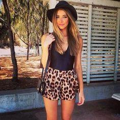 Shorts: bag high waist  floppy hat clothes cross body bag purses tank top flowy flouncy cheetah