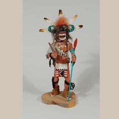 "Black Ogre (Chaveyo Katsina Doll)  Culture: Hopi Pueblo Medium: Wood, paint, textile, hair, and feathers. Artist: Steven Comosona    Provenance: Emil Pooley (1912 to 1979) Size: h. 16"" Item: C3535.67   Copyright © 1998 to 2017 Adobe Gallery"
