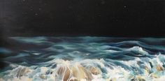 Sea at night - oil painting