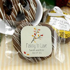 Autumn Gourmet Chocolate Pretzel Wedding Favors, I know we were thinking not so much on the candy/food side of things but these looked delicious!