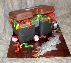 "Cake ""tackle box"", gummy worms, fondant fish, & real (new!) lures, bobbers, & line"