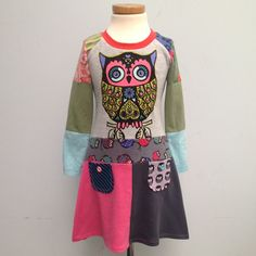Upcycled Girl's Dress Handmade Dress Repurposed Pieced Tunic Owl Size 4T up 5,5 years (European size 110/116).