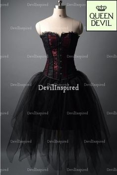 Wine Red and Black Gothic Corset Burlesque Prom Dress