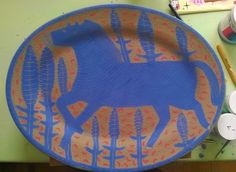 Blue horse platter.  www.vickylindo.co.uk