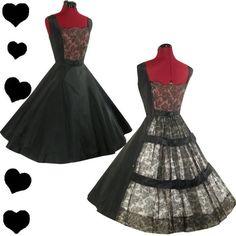 PinupDresses.com #Vintage #Dress Vintage 50s Black LACE Full Skirt Party PROM Dress M Sheer Floral HOLIDAY Xmas